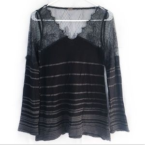 Free People Black Gray Lace & Knit Top